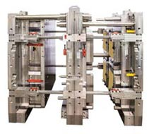 Quick changeovers on large stack moulds; smaller tonnage machine use